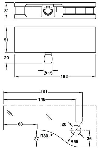 bản vẽ kỹ thuật kẹp kính trên hafele 80kg