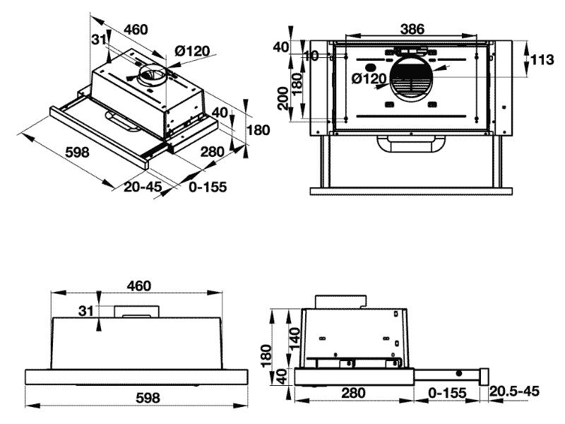 bản vẽ kỹ thuật máy hút mùi hafele 539.81.083