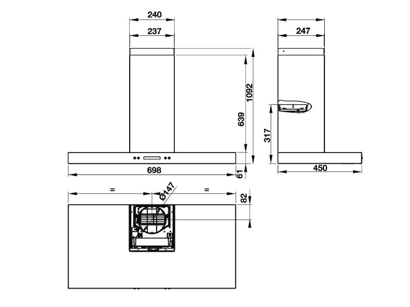 Bản vẽ kỹ thuật máy hút mùi hafele 539.81.168