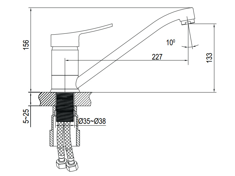 Vòi rửa chén Hafele HF-C221V 566.32.221