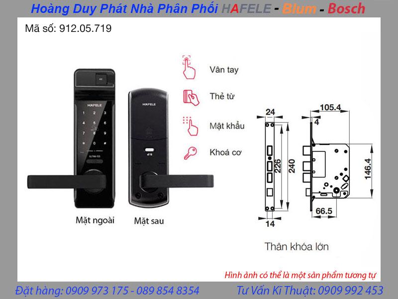 Khóa điện tử vân tay Hafele EL7700-TCS 912.05.719 - Thân khóa lớn