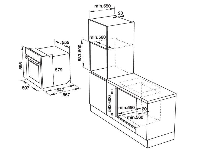 bản vẽ kỹ thuật lò nướng hafele HO-KT60F 535.00.350