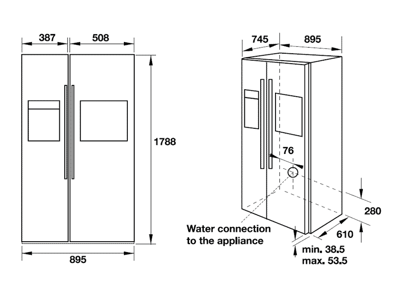 Tủ lạnh Side By Side Hafele HF-SBSIC 534.14.250