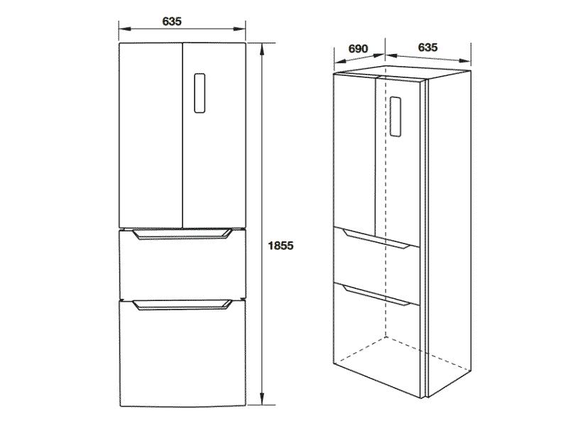 bản vẽ kỹ thuật tủ lạnh hafele 534.14.040