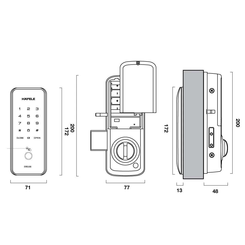 bản vẽ kỹ thuật khóa điện tử Hafele ER5100