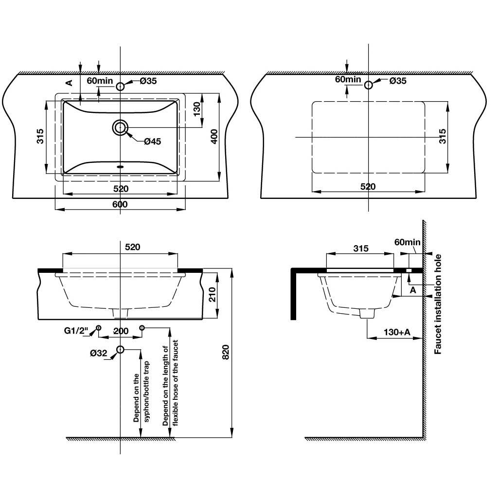 bản vẽ kỹ thuật lavabo âm bàn hafele 588.82.109