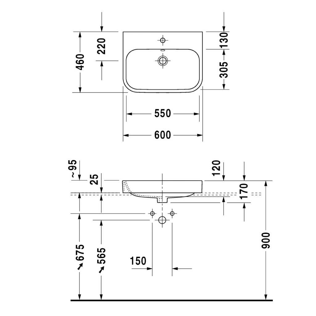 bản vẽ kỹ thuật lavabo đặt bàn hafele 588.45.126