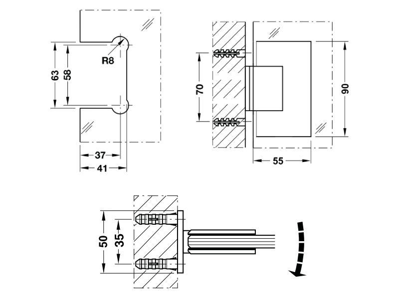 bản vẽ kỹ thuật bản lề kính tường hafele 90 độ