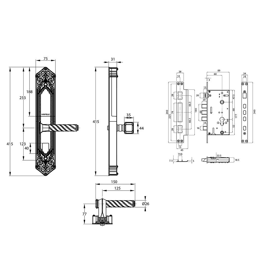 bản vẽ kỹ thuật khoá điện tử hafele EL10K 912.05.314