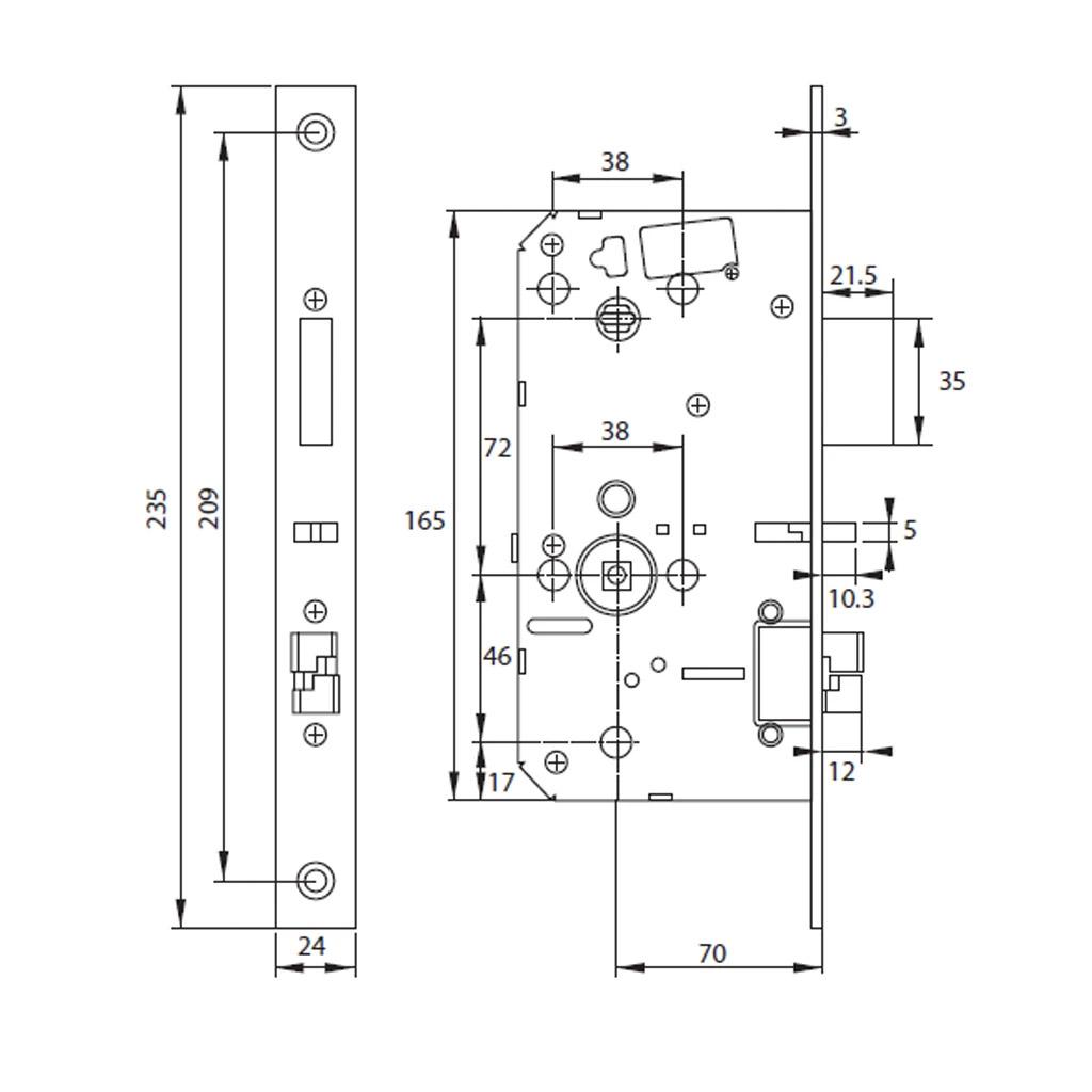bản vẽ kỹ thuật khoá điện tử hafele PP8100