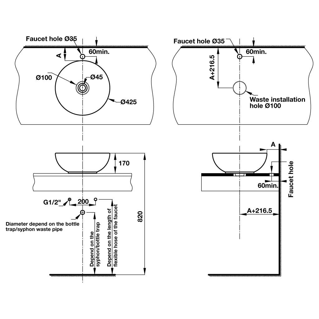 bản vẽ kỹ thuật chậu rửa mặt lavabo Häfele 588.82.202
