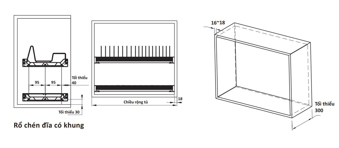 bản vẽ kỹ thuật khay úp chén đĩa Cucina PRESTO loại có khung